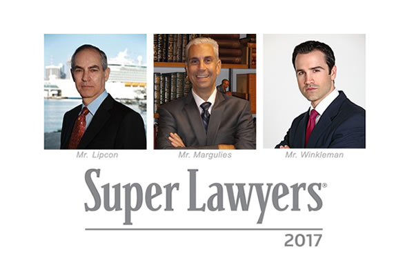 Mr. Lipcon, Mr. Margulies and Mr. Winkleman Selected to 2017 Super Lawyers Lists
